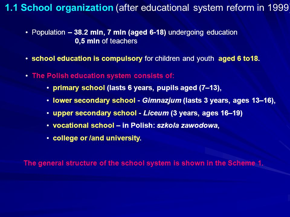1.1 School organization (after educational system reform in 1999)