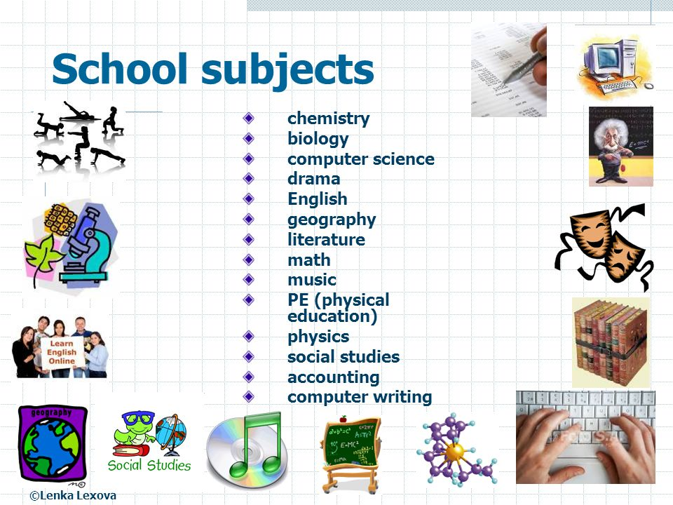 School subjects chemistry biology computer science drama English