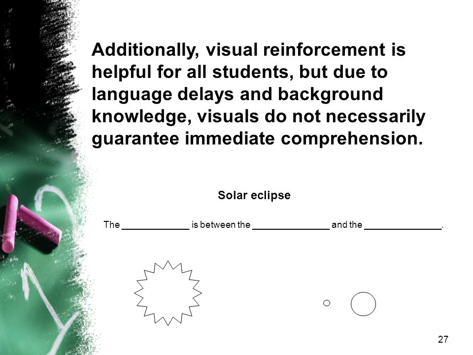 Additionally, visual reinforcement is helpful for all students, but due to language delays and background knowledge, visuals do not necessarily guarantee immediate comprehension.