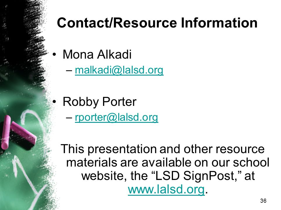 Contact/Resource Information