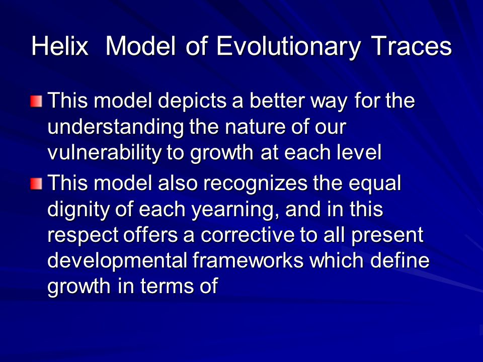 Helix Model of Evolutionary Traces