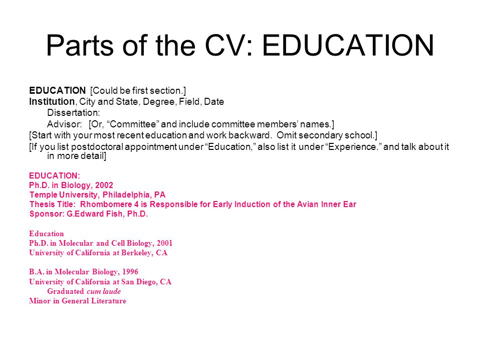 Parts of the CV: EDUCATION
