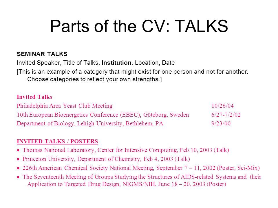 Parts of the CV: TALKS SEMINAR TALKS