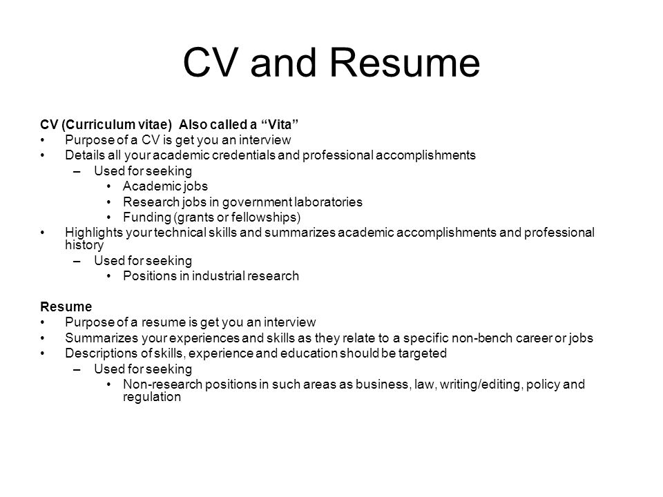 cv and resume cv curriculum vitae also called a vita - Vita Resume
