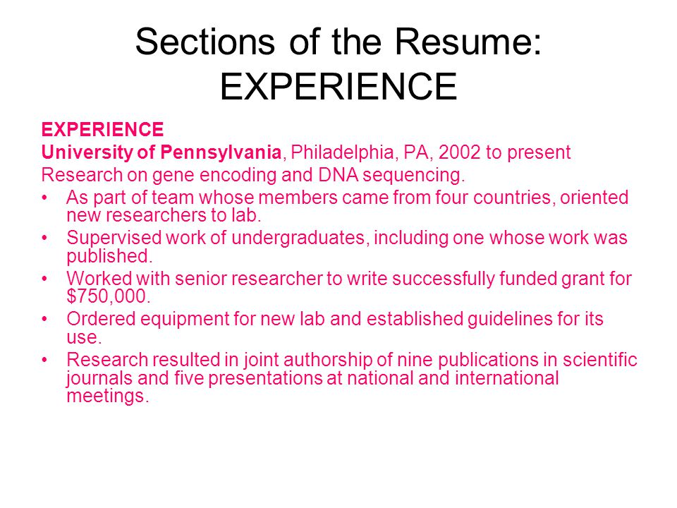 Sections of the Resume: EXPERIENCE