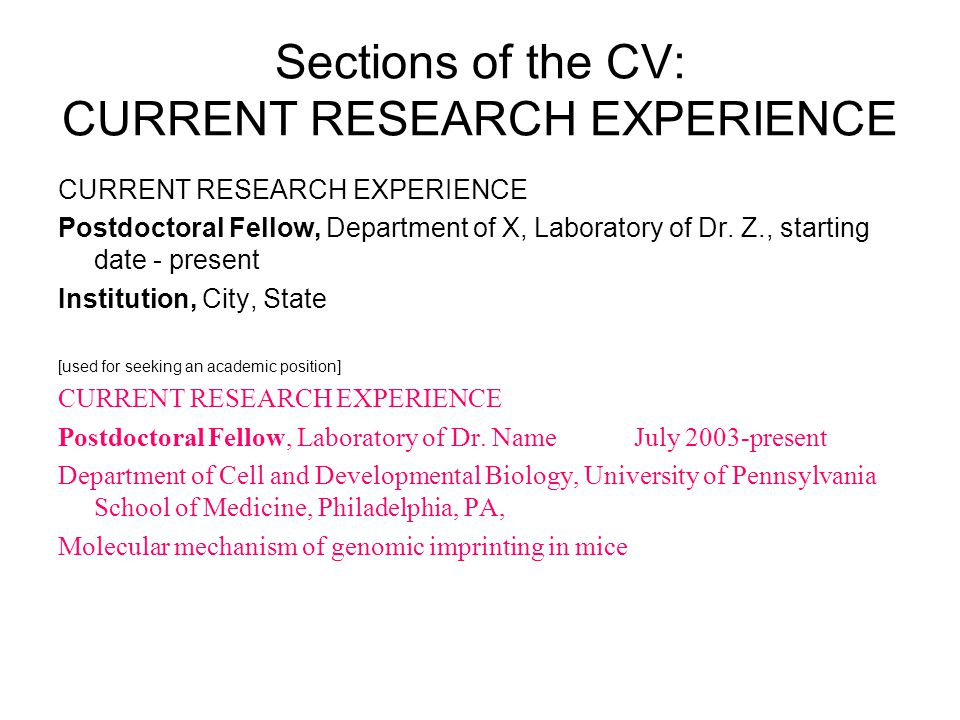 Sections of the CV: CURRENT RESEARCH EXPERIENCE