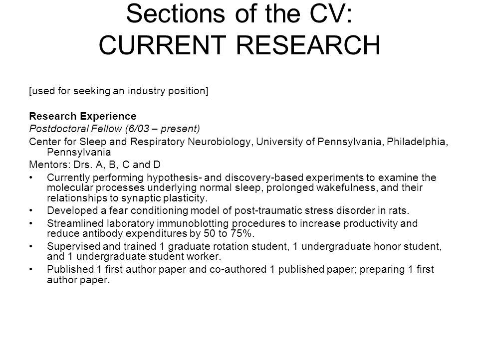 Sections of the CV: CURRENT RESEARCH