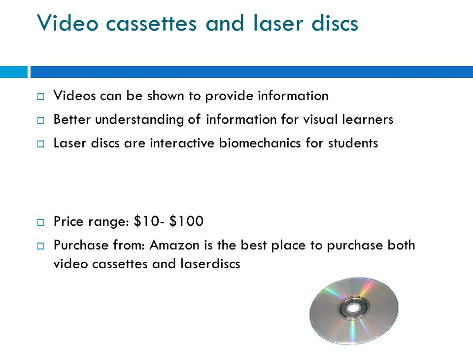 Video cassettes and laser discs