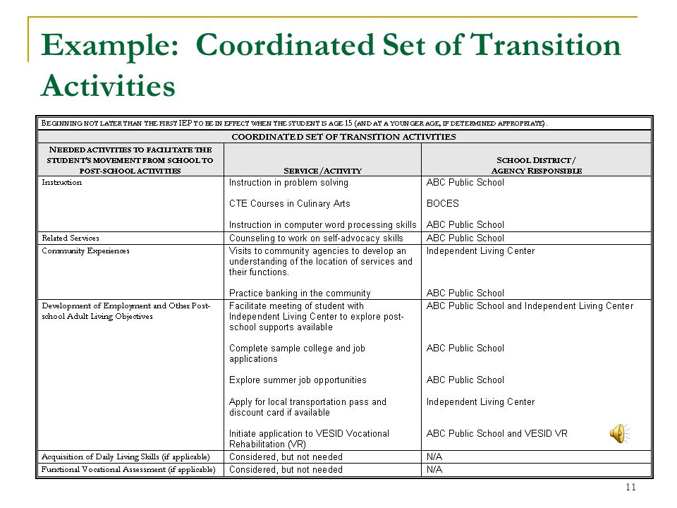 Example: Coordinated Set of Transition Activities