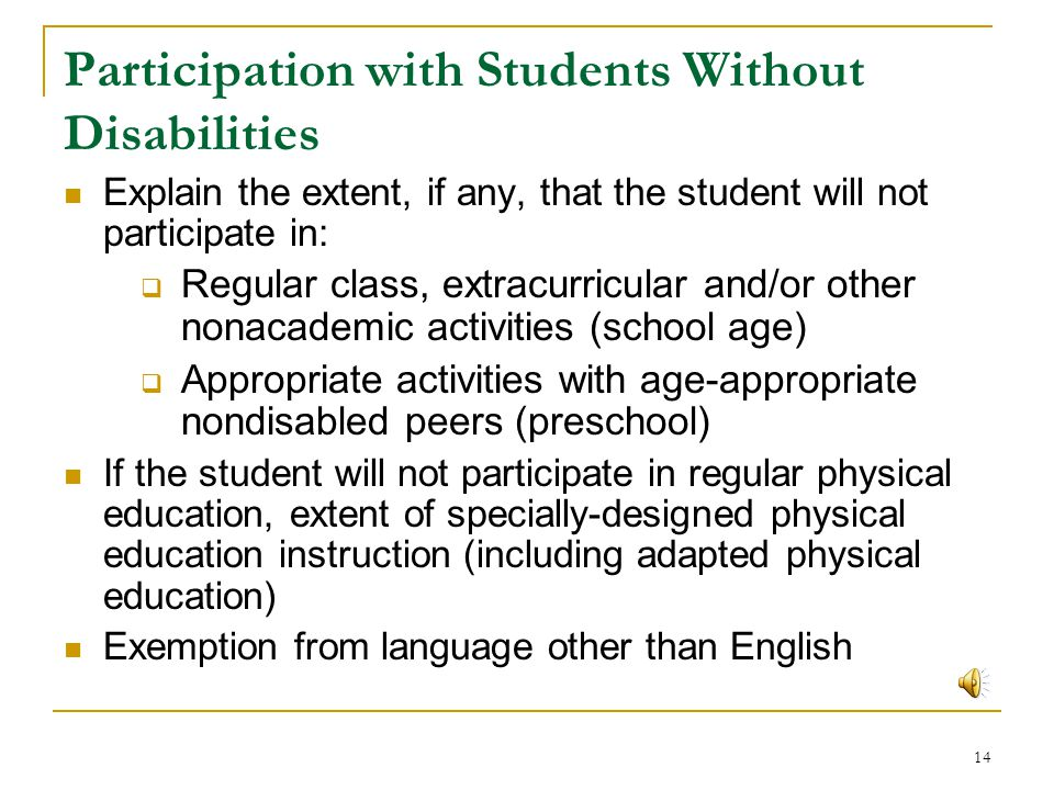 Participation with Students Without Disabilities