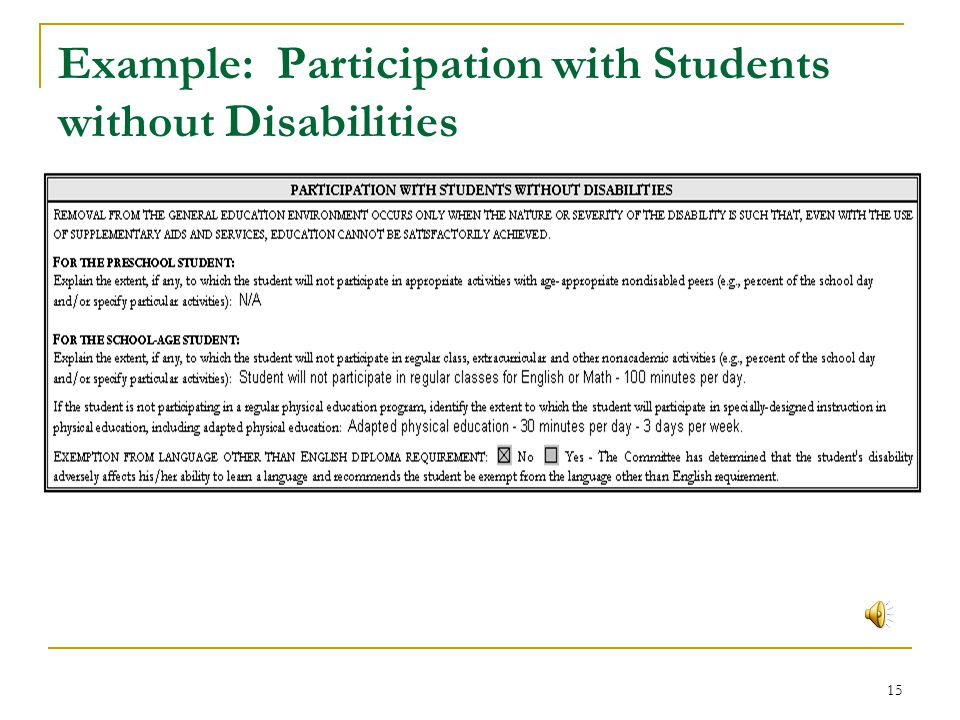 Example: Participation with Students without Disabilities