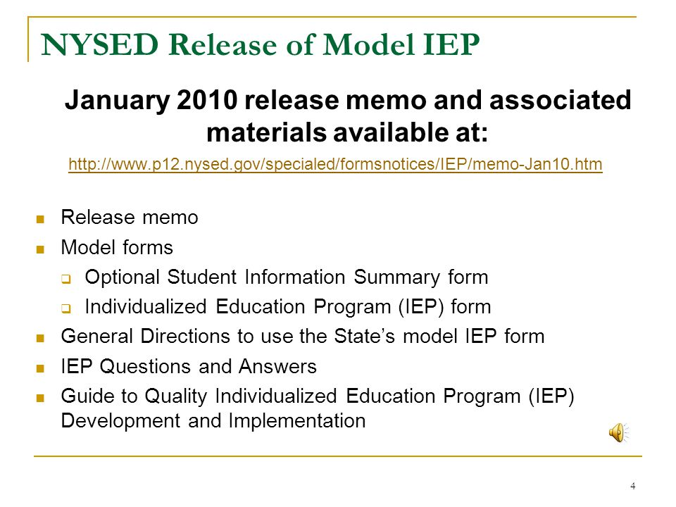 NYSED Release of Model IEP