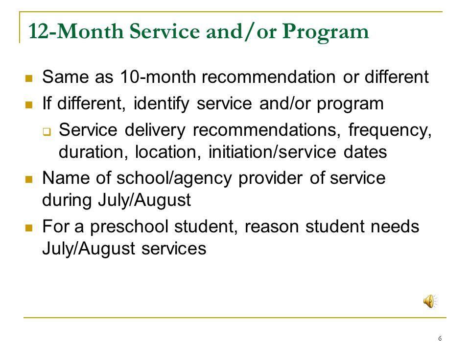 12-Month Service and/or Program