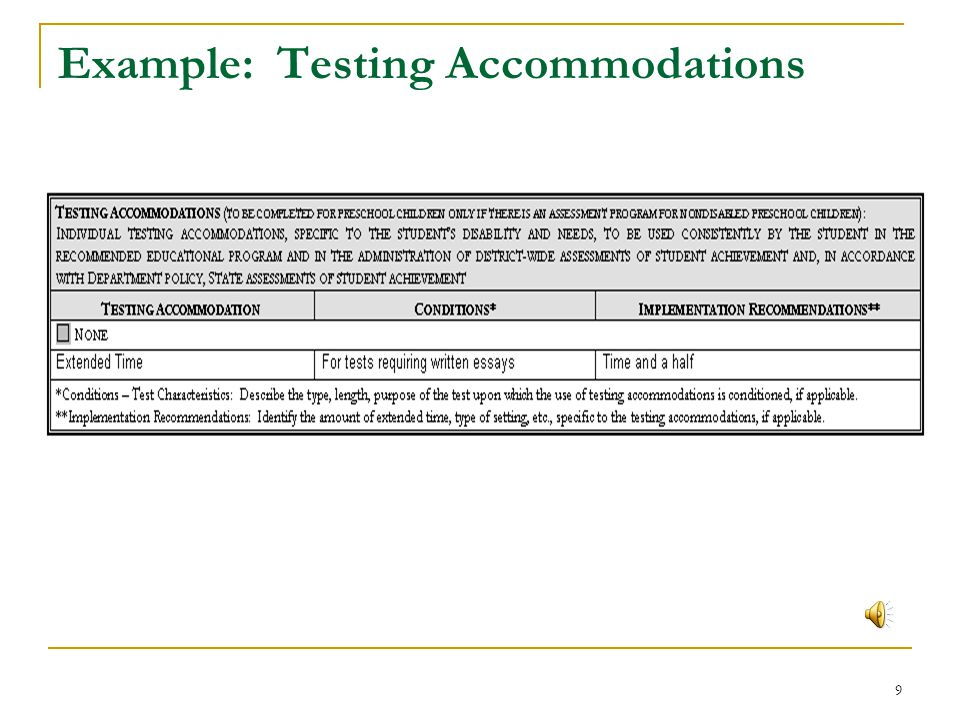 Example: Testing Accommodations