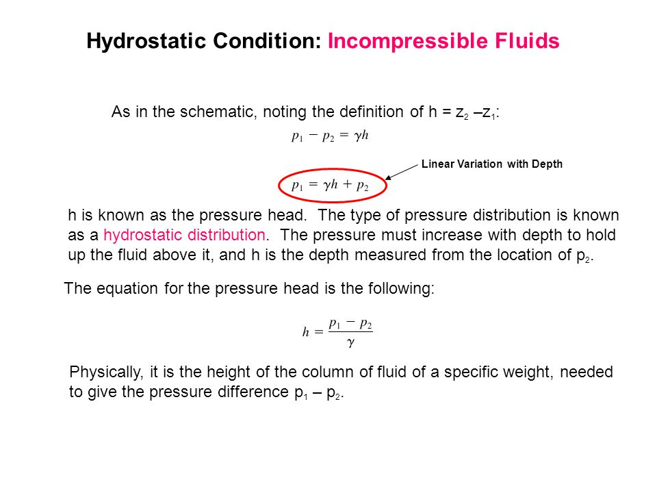 Hydrostatic Condition: Incompressible Fluids