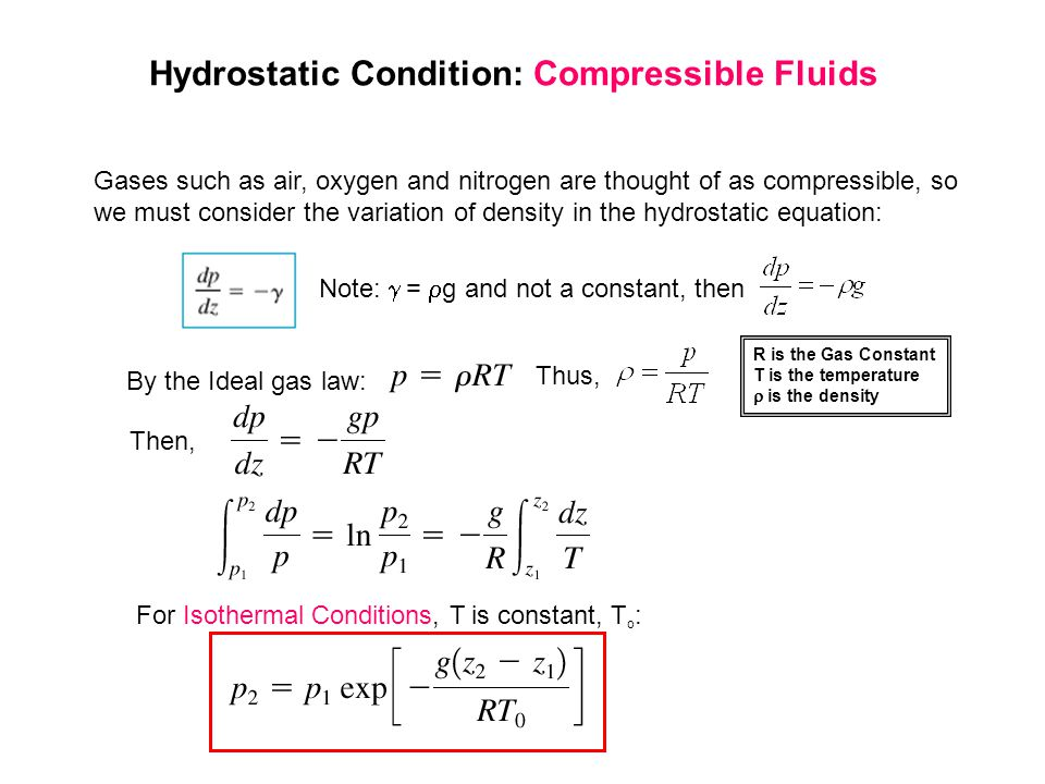 Hydrostatic Condition: Compressible Fluids