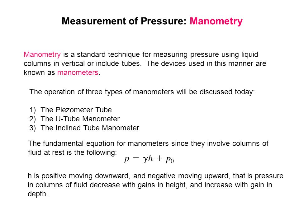 Measurement of Pressure: Manometry
