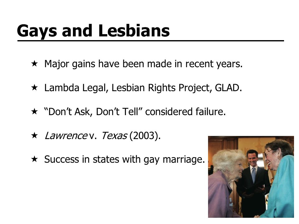 Gays and Lesbians Major gains have been made in recent years.