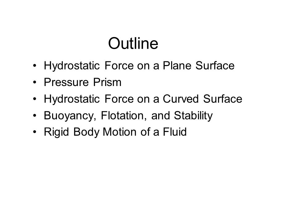 Outline Hydrostatic Force on a Plane Surface Pressure Prism