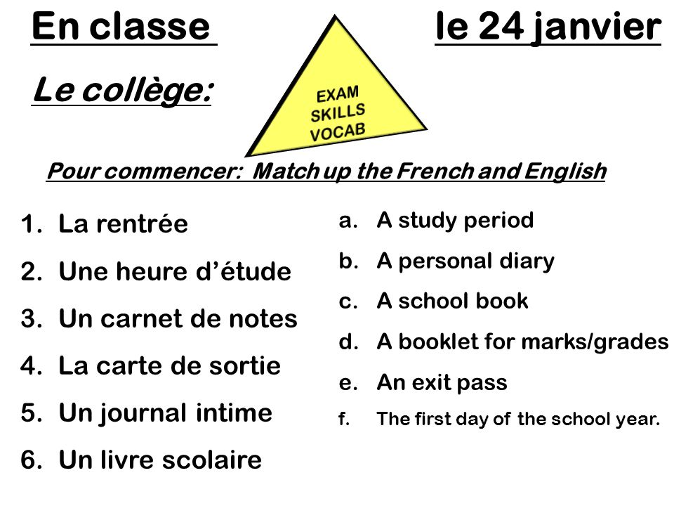 Pour commencer: Match up the French and English