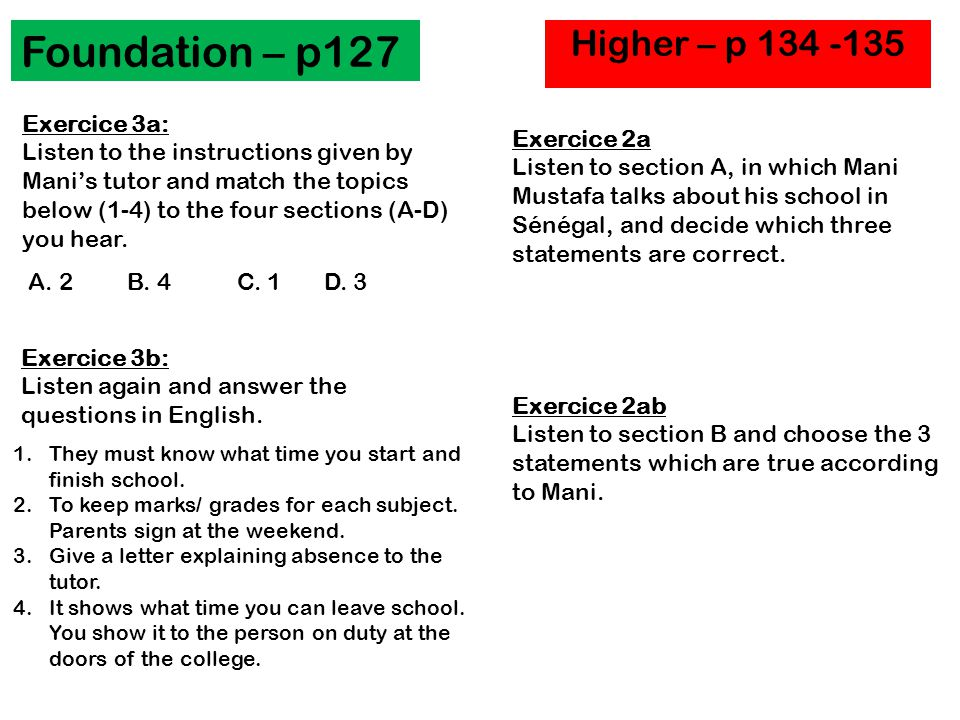 Foundation – p127 Higher – p Exercice 3a:
