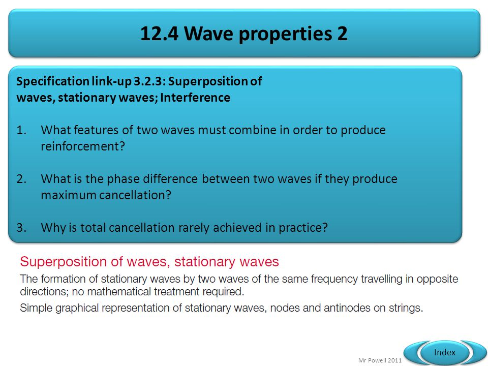 12.4 Wave properties 2 Specification link-up 3.2.3: Superposition of
