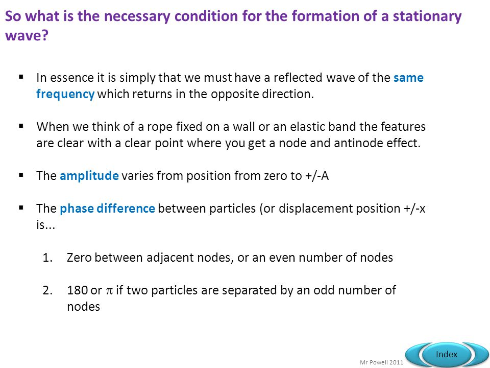 So what is the necessary condition for the formation of a stationary wave