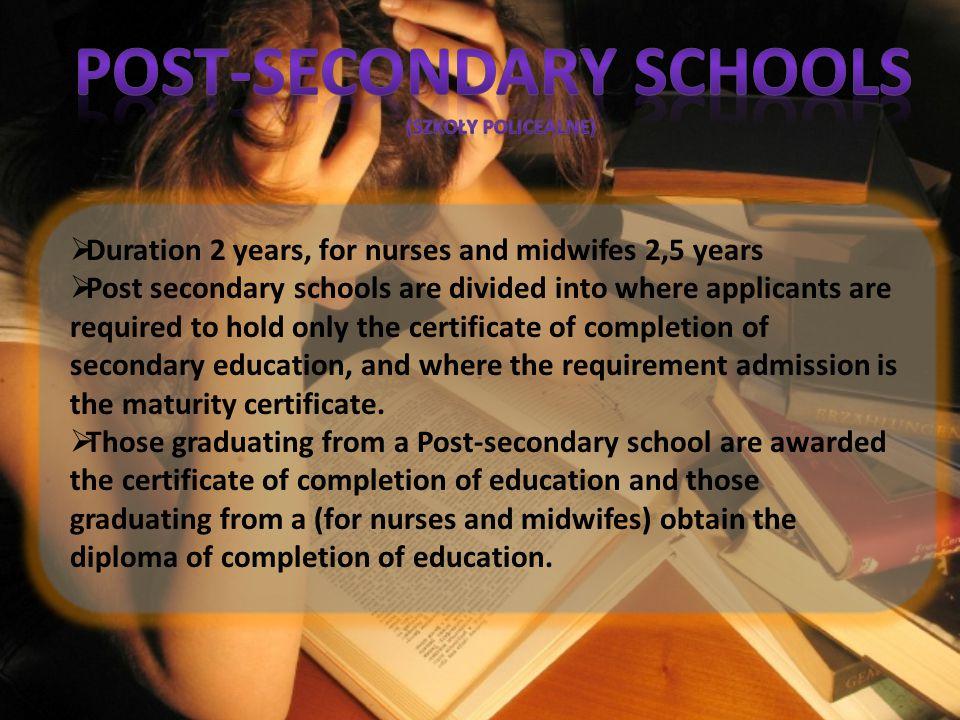 POST-SECONDARy SCHOOLS