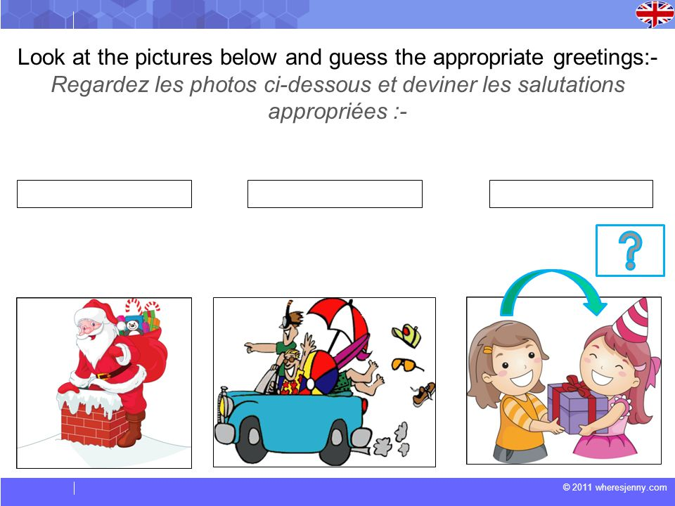 Look at the pictures below and guess the appropriate greetings:-