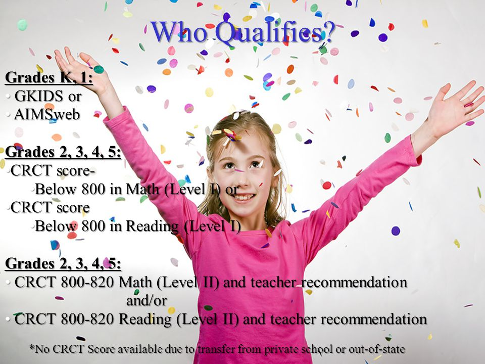 Who Qualifies Grades K, 1: GKIDS or AIMSweb Grades 2, 3, 4, 5: