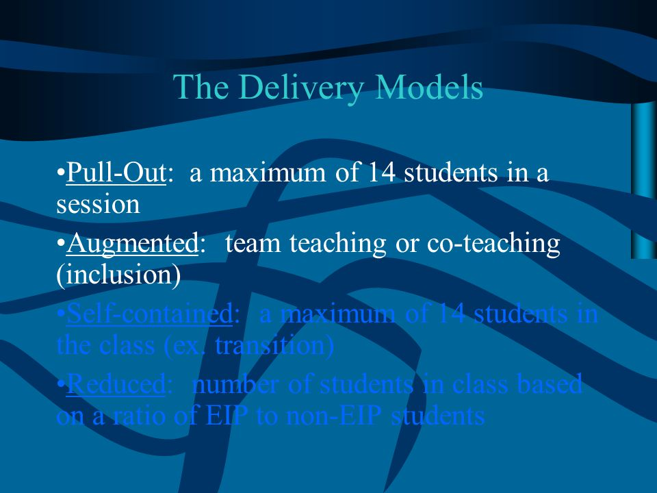The Delivery Models Pull-Out: a maximum of 14 students in a session