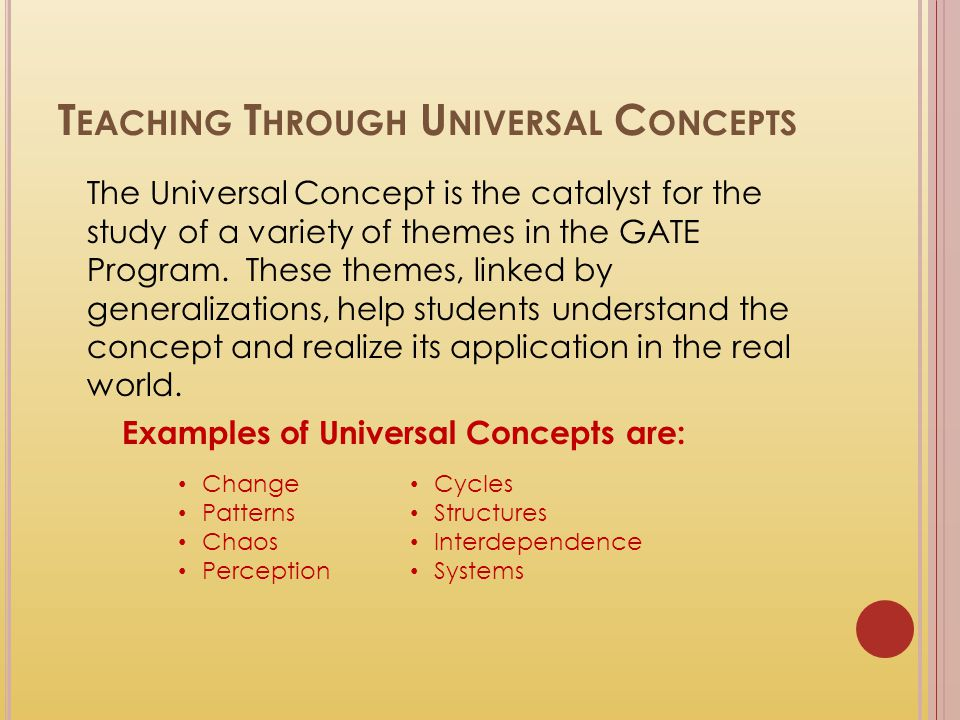 Teaching Through Universal Concepts