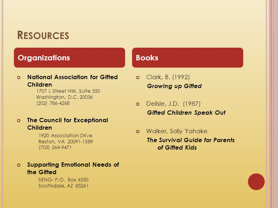 Resources Organizations Books National Association for Gifted Children