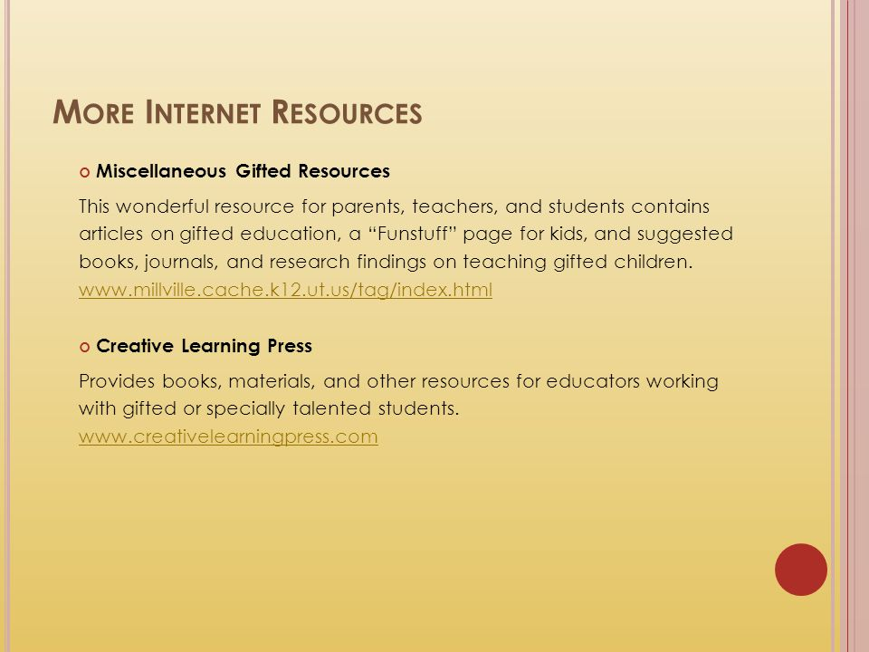 More Internet Resources