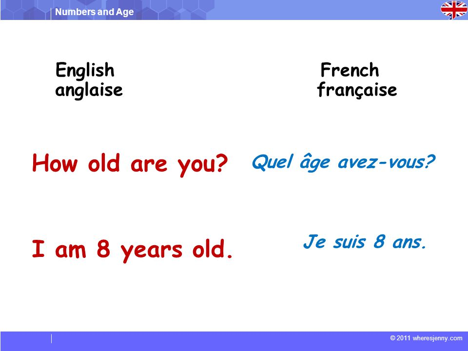 How old are you I am 8 years old. English French anglaise française