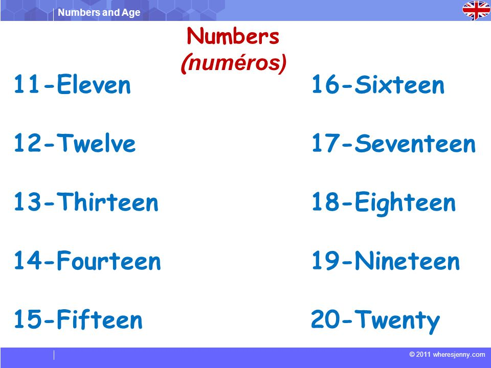 11-Eleven 12-Twelve 13-Thirteen 14-Fourteen 15-Fifteen 16-Sixteen