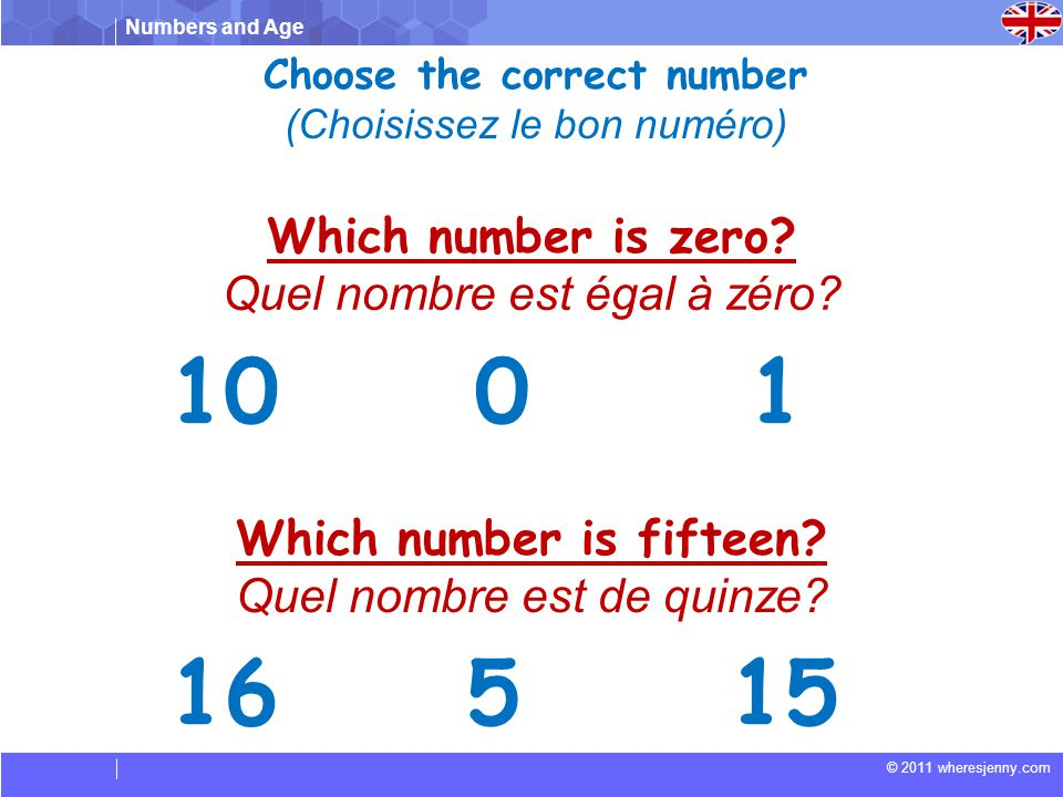 Choose the correct number Which number is fifteen