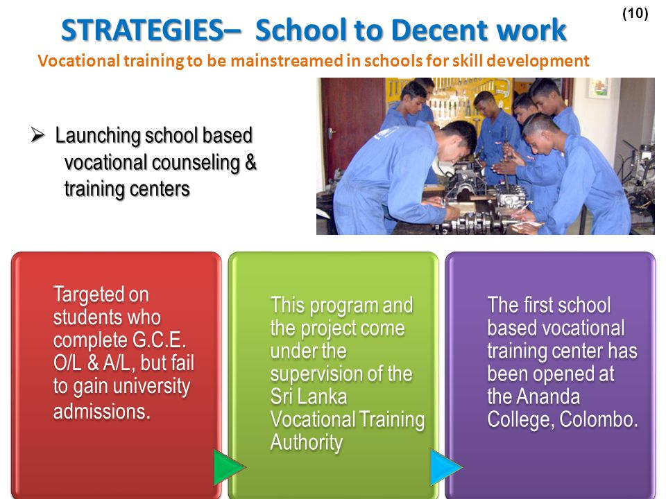 Launching school based vocational counseling & training centers