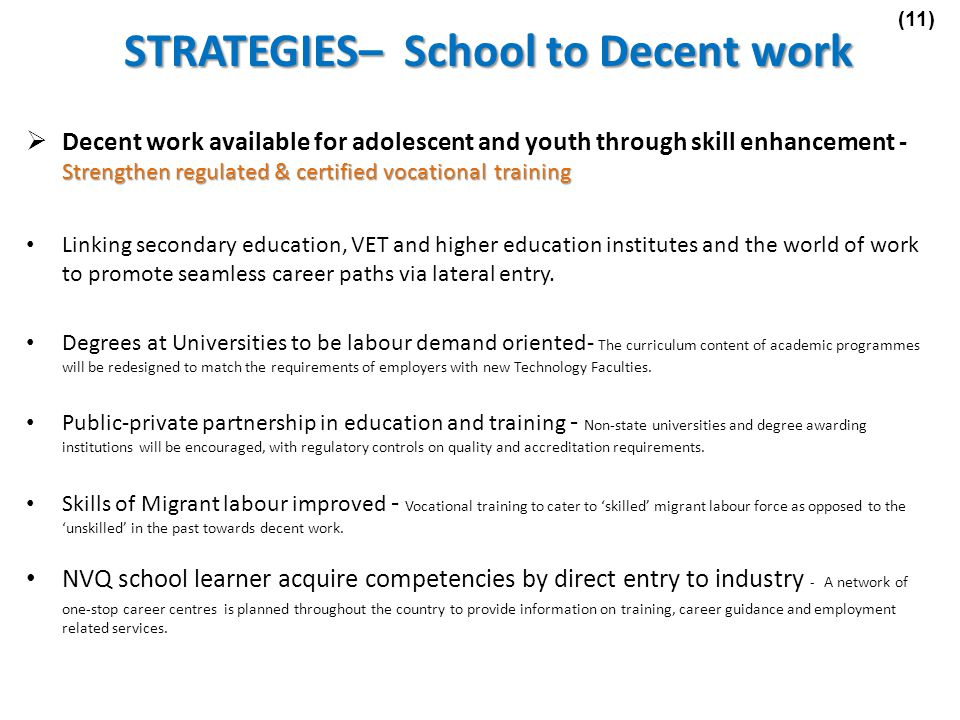 STRATEGIES– School to Decent work