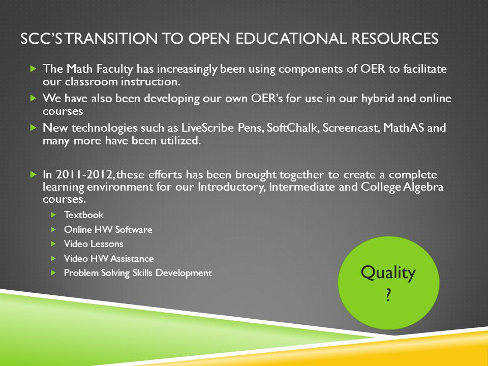 SCC's transition to Open Educational resources