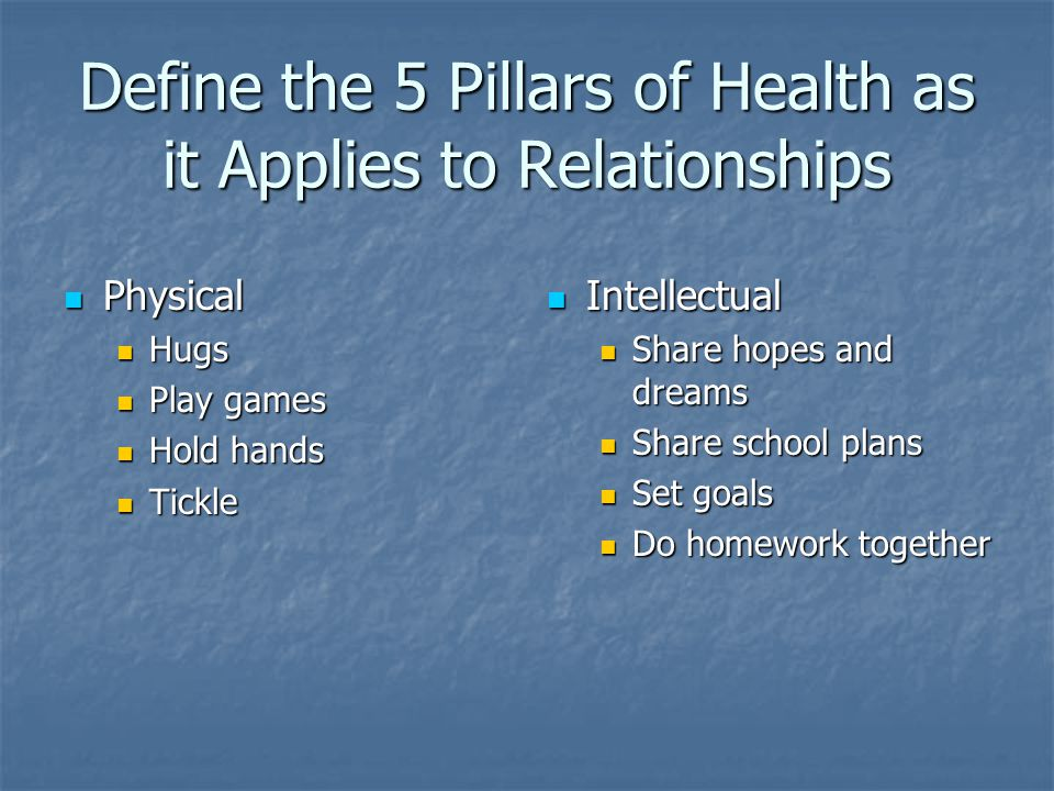 Define the 5 Pillars of Health as it Applies to Relationships