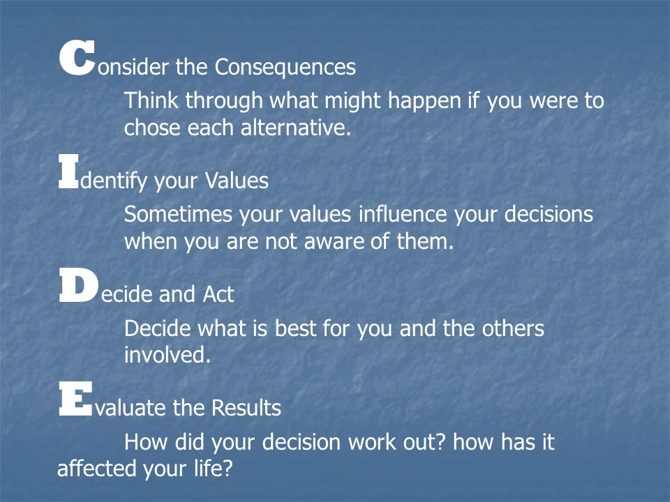 Consider the Consequences Identify your Values Decide and Act