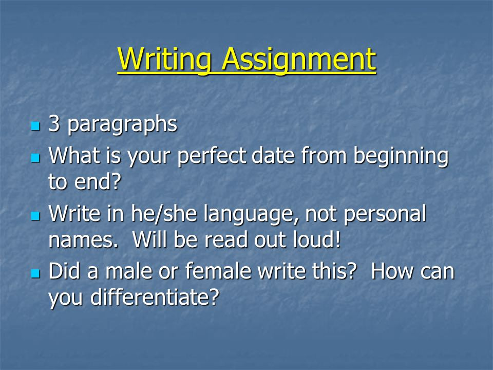 Writing Assignment 3 paragraphs