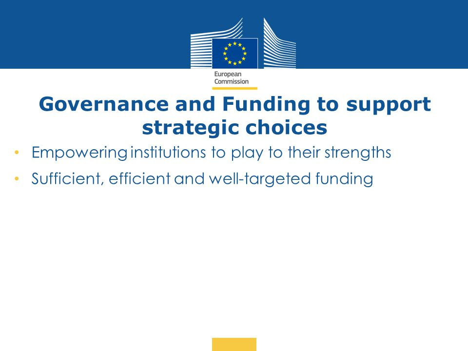 Governance and Funding to support strategic choices