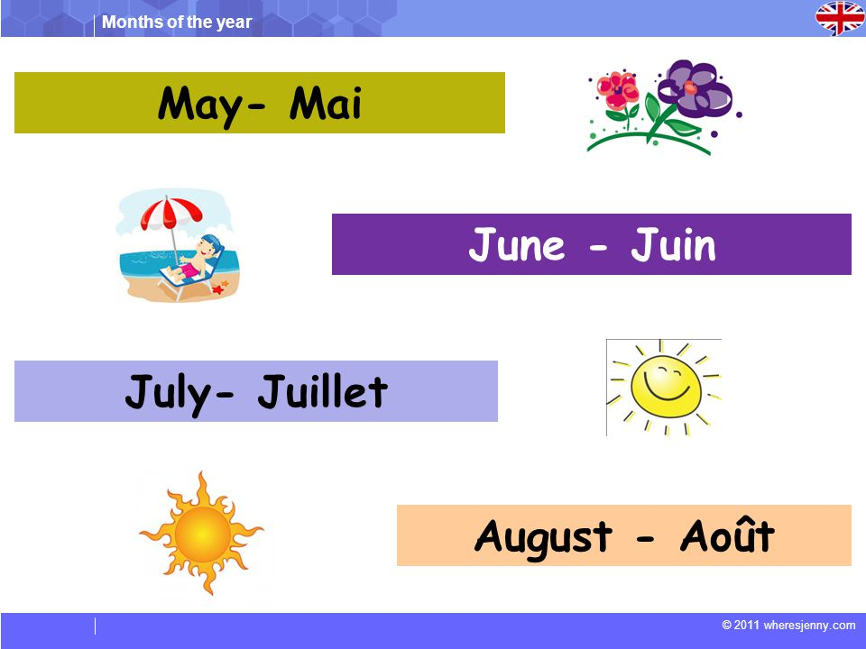 May- Mai June - Juin July- Juillet August - Août