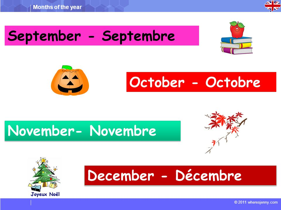 September - Septembre October - Octobre November- Novembre December - Décembre