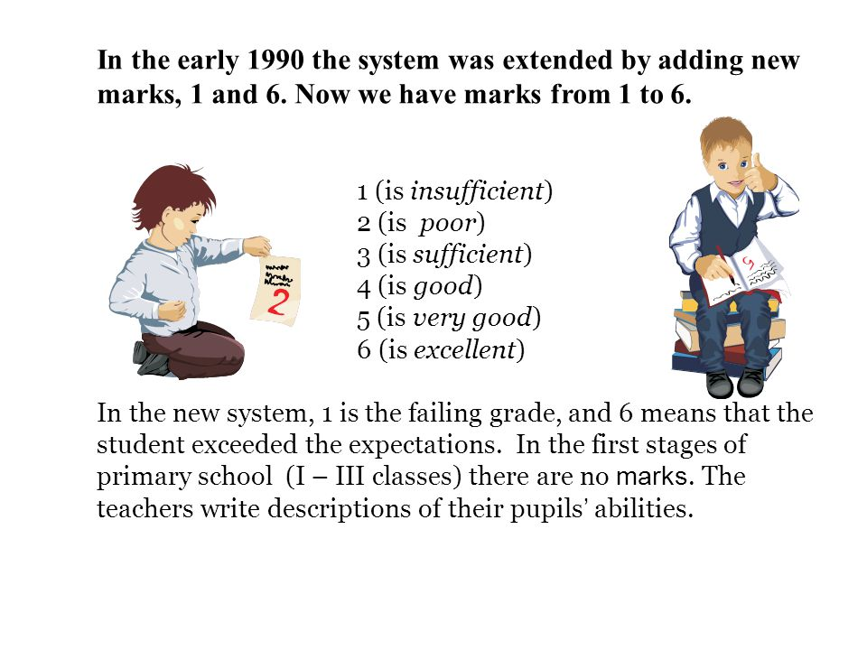 In the early 1990 the system was extended by adding new marks, 1 and 6