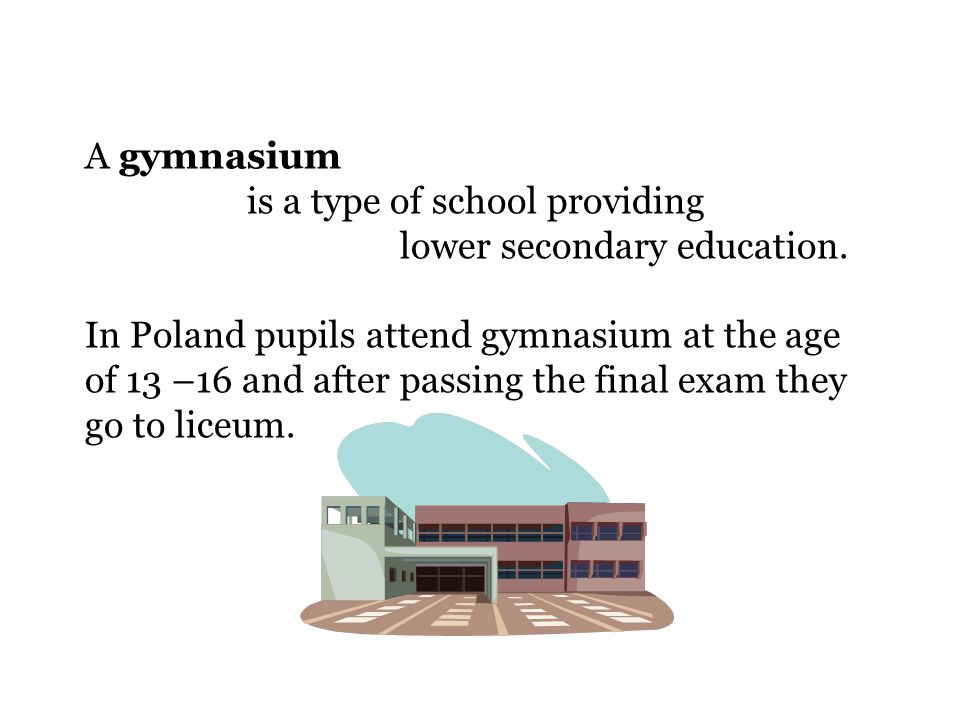 A gymnasium is a type of school providing lower secondary education