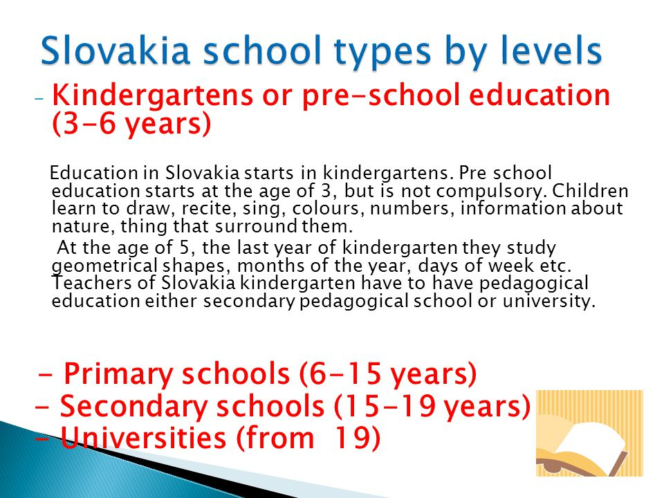 Slovakia school types by levels