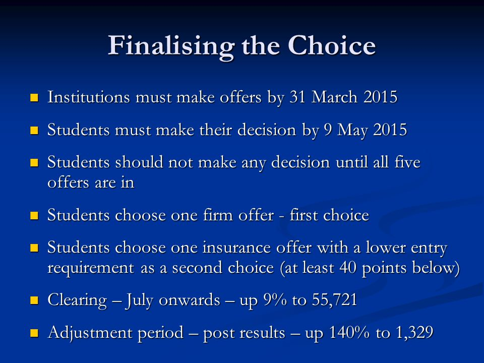 Finalising the Choice Institutions must make offers by 31 March 2015